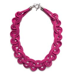 Textile Necklace | Dark Pink