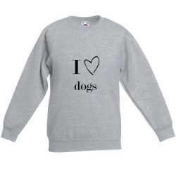 Unisex Sweater I Love Dogs | Grey