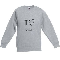 Unisex Sweater I Love Cats | Grau