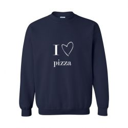 Unisex Sweater I Love Pizza | Blauw