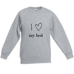 Sweater Unisexe I Love My Bed | Gris
