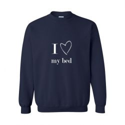 Unisex Sweater I Love My Bed | Blauw
