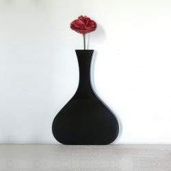 Vanity Long Neck Wall Vase Black
