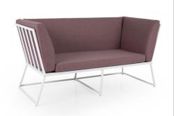 2-Sitzer-Sofa Vence | Weiß + Rosa Kissen