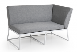 2 Seater Sofa Vence Left | White + Grey Cushions