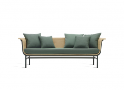 Outdoor Lounge Sofa Wicked + Green Cushions | Natural Frame