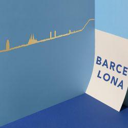 Wanddekoration Barcelona Skyline Klein | Gold