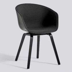 About A Chair AAC22 | Black Stained Oak Veneer & Black / Remix 183 Front Upholstery