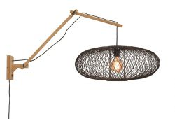 Wall Lamp Cango 60 cm Black | Black / Natural