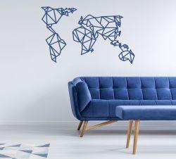 Wanddekoration Weltkarte | Blau