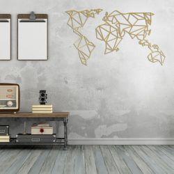 Wanddekoration Weltkarte | Gold