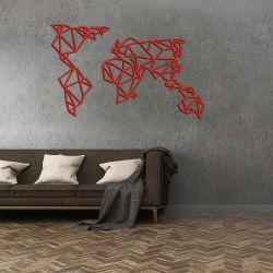 Wanddekoration Weltkarte | Rot
