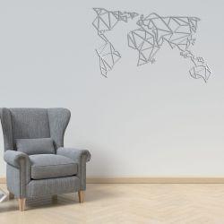 Wanddekoration Weltkarte | Silber