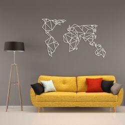 Wanddekoration Weltkarte | Weiß