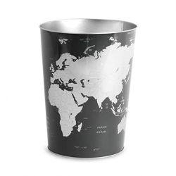 Wastebasket Globe | Black-Silver