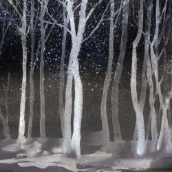 Behangpapier Watercolour Forest | Nacht