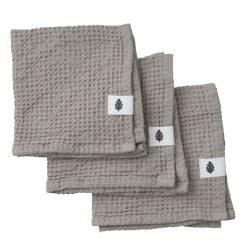 Set of 3 Wash Cloth Waffly | Stone