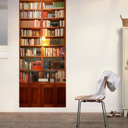 Wall Sticker Door - 2 Sheets | Vintage Bookshelf
