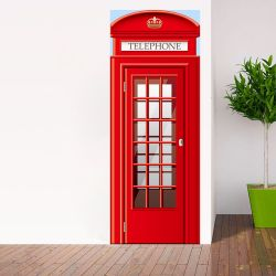 Wall Sticker Door - 2 Sheets | UK Telephone Booth