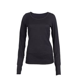Sleeve Scoop Long Merino Cali Top | Black