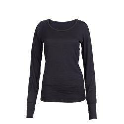 Sleeve Scoop Long Merino Cali Top | Black