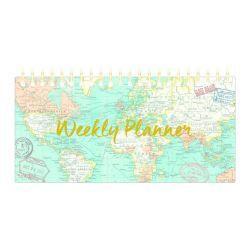 Wochenkalender Vintage Map | Blau