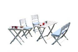 Gartenmöbelset WEOD003 | Akazienholz | Weiß