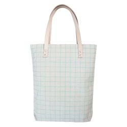 Cotton Canvas Tote Bag with Leather Straps | Mint Green Grid Lines