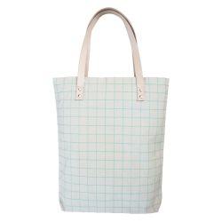 Tragetasche aus Baumwoll-Canvas mit Lederriemen | Mintgrüne Gitternetzlinien
