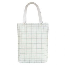 Cotton Canvas Tote Bag | Mint Green Grid Lines