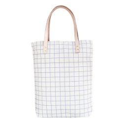 Cotton Canvas Tote Bag with Leather Straps | Ash Blue Grid Lines