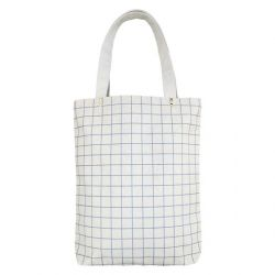 Cotton Canvas Tote Bag | Ash Blue Grid Lines