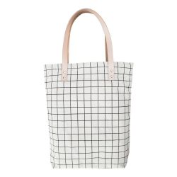 Cotton Canvas Tote Bag with Leather Straps | Black Grid Lines