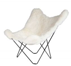 Butterfly Chair Icelandic Sheepskin | Shorn White / Black Frame