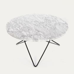 O Table | White Marble/Black Steel