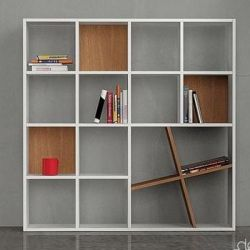 Honey Book Shelf, White & Walnut