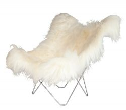 Chaise Papillon Peau d'Islande | Blanc Long / Chrome