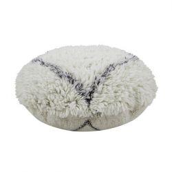 Pouf Woll | Berberseele | Weiß