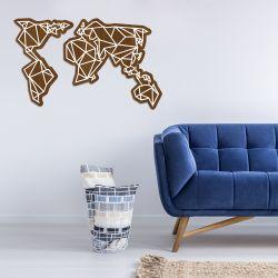 Wanddekoration Weltkarte | Dunkles Holz