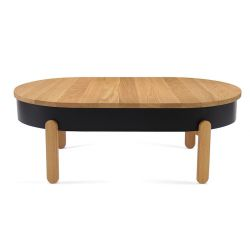 Coffee Table with Storage Space Batea Large | Oak & Black