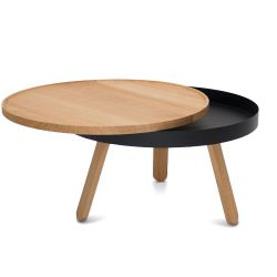 Coffee Table with Storage Space Batea Medium | Oak & Black