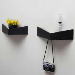 Wandplanken  Small + Medium Set van 2 Pelican | Zwart
