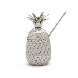 Ananasbecher groß mit Strohhalm | Silber