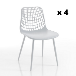 Set of 4 Chairs In & Outdoor Nairobi | White