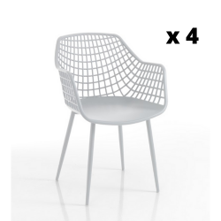 Set of 4 | Armchair Nairobi | White