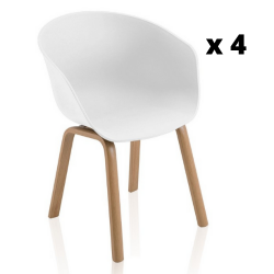 Chaise Mork Set de 4 | Blanc