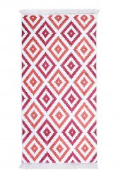 Small Patterned Carpet with Fringes | Red
