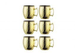 Cocktailbecher Moskau 500 ml 6er-Set | Gold