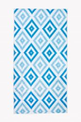XL Patterned Carpet with Fringes | Blue