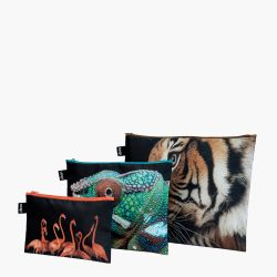 Set of 3 Zip Pockets National Geographic | Tiger, Chameleon, Flamingos